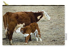 Carry-all Pouch featuring the photograph Nursing Calf by Michael Chatt