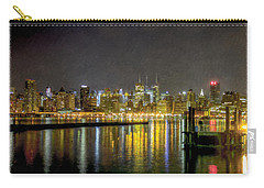 Nyc At Night Faux Oil Carry-all Pouch