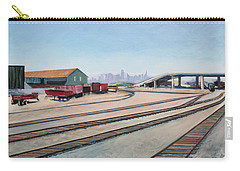 Carry-all Pouch featuring the painting Oakland Train Tracks And San Francisco Skyline by Asha Carolyn Young