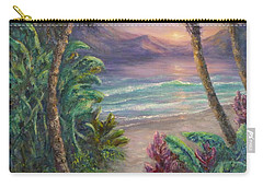 Ocean Sunrise Painting With Tropical Palm Trees  Carry-all Pouch