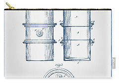 Oil Drum Patent Drawing From 1905 -  Blue Ink Carry-all Pouch