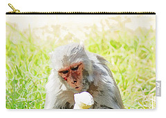 Oil Painting - A Monkey Eating An Ice Cream Carry-all Pouch by Ashish Agarwal