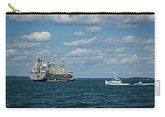 Carry-all Pouch featuring the photograph Oil Tanker And Lobster Boat by Jane Luxton