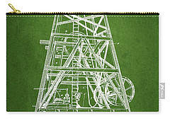 Oil Well Rig Patent From 1893 - Green Carry-all Pouch by Aged Pixel