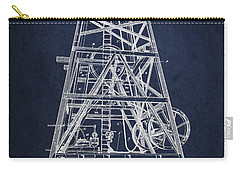 Oil Well Rig Patent From 1893 - Navy Blue Carry-all Pouch by Aged Pixel