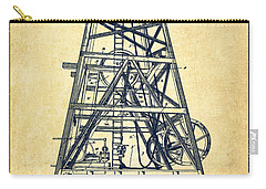 Oil Well Rig Patent From 1893 - Vintage Carry-all Pouch by Aged Pixel
