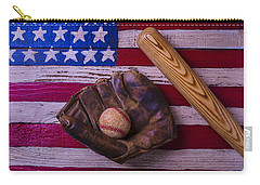 Old Ball And Glove With Bat Carry-all Pouch