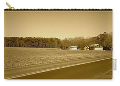 Carry-all Pouch featuring the photograph Old Barn And Farm Field In Sepia by Amazing Photographs AKA Christian Wilson