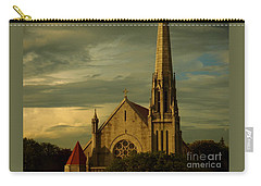 Old Church With Dramatic Clouds And Sky At Sunset Carry-all Pouch by Miriam Danar