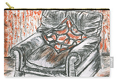Carry-all Pouch featuring the drawing Old Cozy Chair by Teresa White