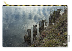 Carry-all Pouch featuring the photograph Old Dock Supports Along The Canal Bank - No 1 by Belinda Greb