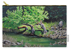Carry-all Pouch featuring the painting Old Friends by Karen Ilari