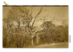 Carry-all Pouch featuring the photograph Old Haunted Tree In Sepia by Amazing Photographs AKA Christian Wilson