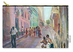 Old Havana Street Life - Sale - Large Scenic Cityscape Painting Carry-all Pouch by Quin Sweetman
