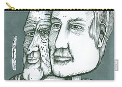Old Man Behind A Young Mans Face Carry-all Pouch