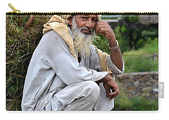 Carry-all Pouch featuring the photograph Old Man Carrying Fodder Swat Valley Kpk Pakistan by Imran Ahmed
