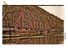 Carry-all Pouch featuring the photograph Old Railroad Bridge With Sepia Tones by Jonny D