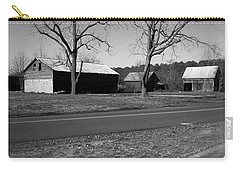 Carry-all Pouch featuring the photograph Old Red Barn In Black And White by Amazing Photographs AKA Christian Wilson
