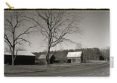 Old Red Barn In Black And White Long Carry-all Pouch