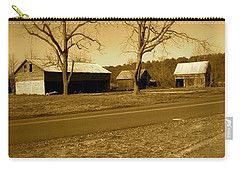 Carry-all Pouch featuring the photograph Old Red Barn In Sepia by Amazing Photographs AKA Christian Wilson
