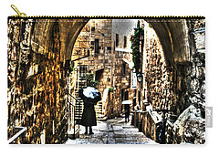 Carry-all Pouch featuring the photograph Old Street In Jerusalem by Doc Braham