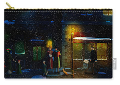 Old Town Christmas Eve Carry-all Pouch by Ken Morris