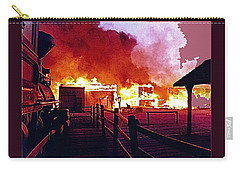 Carry-all Pouch featuring the photograph Old Tucson In Flames by David Lee Guss