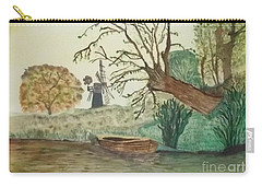 Carry-all Pouch featuring the painting Old Willow And Boat by Tracey Williams