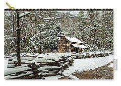 Carry-all Pouch featuring the photograph Oliver's Log Cabin Nestled In Snow by Debbie Green