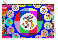 Om Mantra Dedication  Devotion Symbol Assembly By Artist N Reiki Healing Master Navinjoshi Carry-all Pouch by Navin Joshi