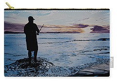 On The Beach Fishing At Sunset Carry-all Pouch by Ian Donley