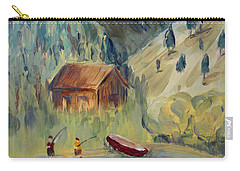 Carry-all Pouch featuring the painting On The Lake by Maria Langgle