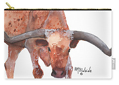 On The Level Texas Longhorn Watercolor Painting By Kmcelwaine Carry-all Pouch