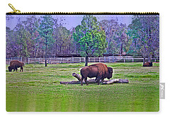 One Bison Family Carry-all Pouch by Miroslava Jurcik