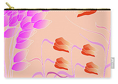 Carry-all Pouch featuring the digital art Orange And Pink Floral by Mary Bedy