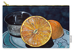 Carry-all Pouch featuring the painting Orange And Silver by Barbara Jewell