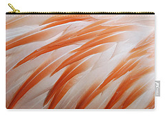 Orange And White Feathers Of A Flamingo Carry-all Pouch by Matthias Hauser
