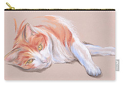 Orange And White Tabby Cat With Gold Eyes Carry-all Pouch