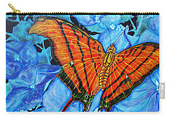 Orange Butterfly Carry-all Pouch by Debbie Chamberlin