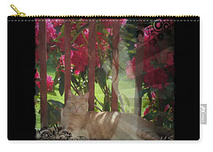 Carry-all Pouch featuring the photograph Orange Cat In The Shade by Absinthe Art By Michelle LeAnn Scott