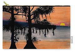 Carry-all Pouch featuring the drawing Orange Cypress Sunset by D Hackett