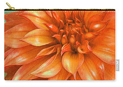 Carry-all Pouch featuring the digital art Orange Dahlia by Jane Schnetlage