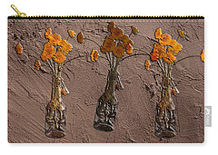Orange Flowers Embedded In Adobe Carry-all Pouch by Don Gradner
