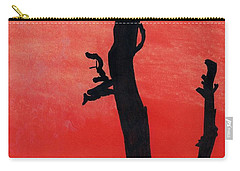 Carry-all Pouch featuring the drawing Orange Sunset Silhouette Tree by D Hackett