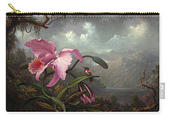 Orchid And Hummingbir Carry-all Pouch by Martin Johnson Heade