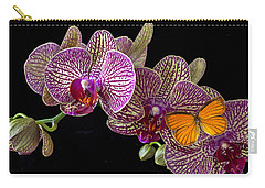 Orchid And Orange Butterfly Carry-all Pouch