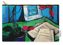Orchid And Piano Sheets Carry-all Pouch by Mona Edulesco