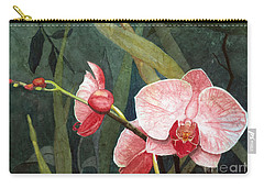 Carry-all Pouch featuring the painting Orchid Trio 2 by Barbara Jewell
