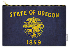 Oregon State Flag Art On Worn Canvas Carry-all Pouch by Design Turnpike