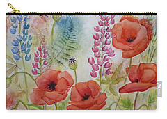 Carry-all Pouch featuring the painting Oriental Poppies Meadow by Carla Parris